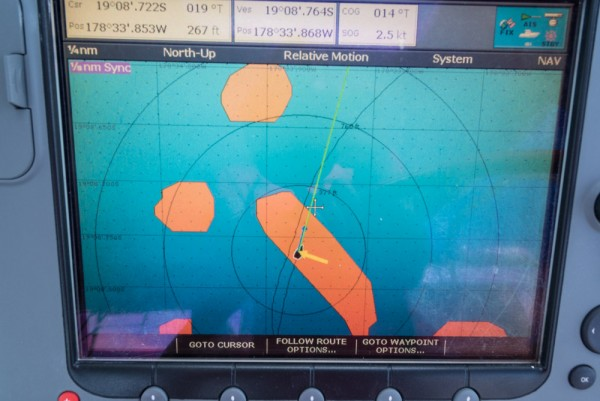 Navigating to the sand spit on Navionics