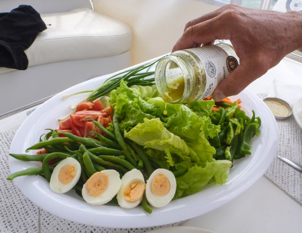 Salade Nicoise served with grilled mahimahi