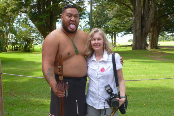 Margy with one of the Maori performers