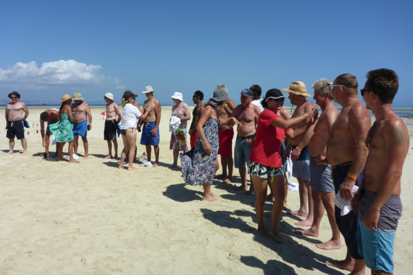 Hairy chest competition on the sand bar.