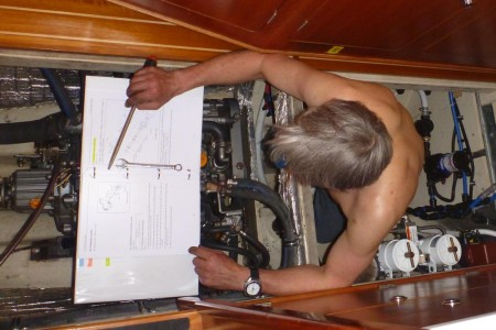 Monty changing an impeller mid-ocean