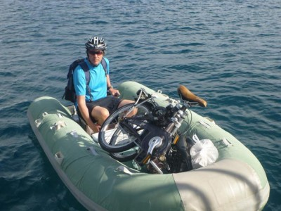 Bikes loaded in the dinghy
