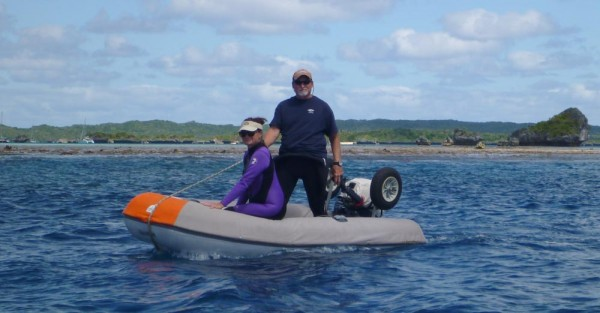 Joyce and Bob heading out to snorkel at the pass