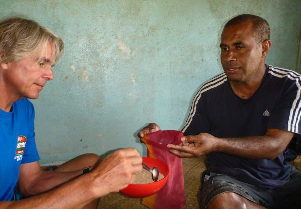 Monty and George preparing the kava