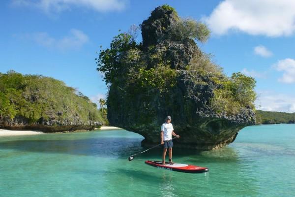 Monty paddling around the lagoon