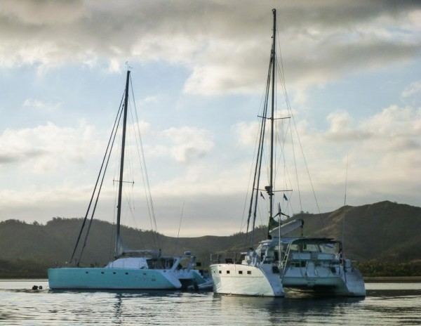 The moorings were pretty close together!