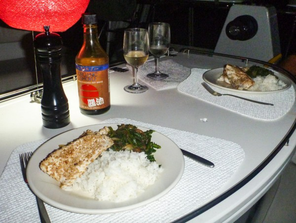Dinner in the cockpit