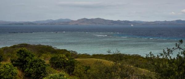 Looking at the mainland, Viti Levu. Note the reefs surrounding the island.