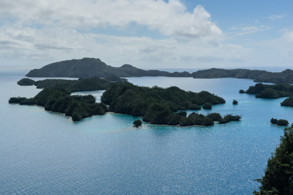 A view of the Bay of Islands, our previous anchorage, from the Plantation.
