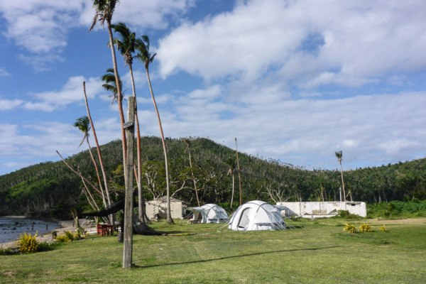 Tents for volunteers who had come to help rebuild.